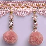 Wildgirl Pom Pom Trim Crystal-Like Beaded Curtain Fringe 13 Yards (Pink Pompon) (Color: Pink Pompon)