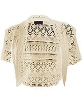 New Womens Crochet Knitted Short Sleeve Ladies Bolero Shrug