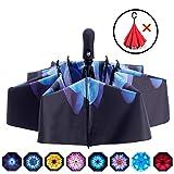 Fidus Inverted Reverse Sun&Rain Car Umbrella Large Windproof Travel UV Umbrella for Women Men - Auto Open Close(Colored Glaze-1) (Color: A5-Colored Glaze)