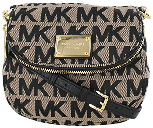 Michael Kors Jet Set Sig Print Flap Crossbody Bag Purse Black