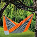 Outdoor Travel Camping Parachute Silk Double Lightweight Portable Hammock FREE Ropes & Carabiners Portable for Travel, Yard, Camping, Hiking, Backpacking, Beach, Siesta for Two Person
