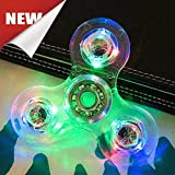 #6: USA ACRYLIC CRYSTAL CLEAR RAINBOW LED LIGHT HAND FIDGET SPINNER CUBE TRI DESK TOY GLITTER PLASTIC