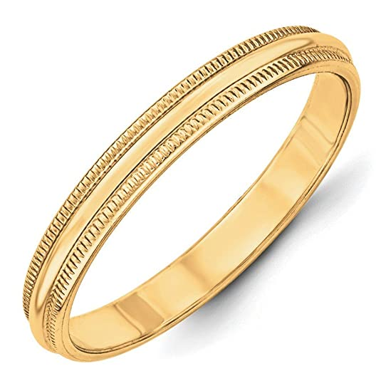 14ct Gold 3mm Milgrain Half-Round Size N 1/2 Wedding Band Ring