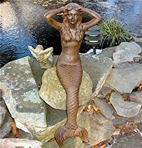 Extra large iron mermaid statue outdoor for Outdoor pool sculptures
