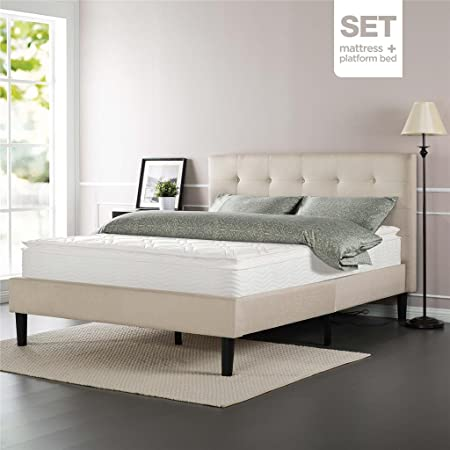 Sleep Master iCoil 10 Inch Pillow Top Spring Mattress and Upholstered Button Tufted Bed Set, King
