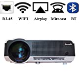 Gzunelic 4500 lumens Android Wifi 1080p Video Projector LCD LED Full HD Theater Proyector with Bluetooth Wireless Synchronize to Iphone Smart Phone by Airplay Miracast Ideal for Home Entertainment