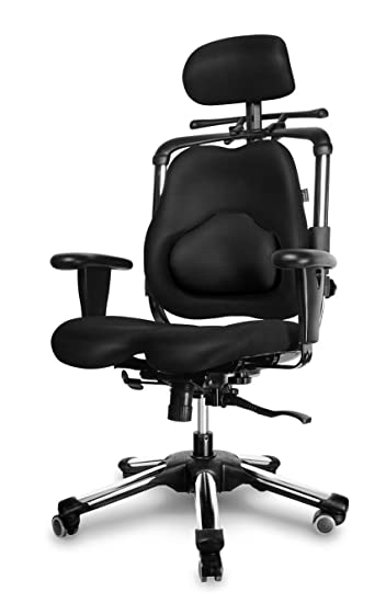NEW HARA CHAIR, pressure relief of the intervertebral discs and improved buttock circulation, Model: Zenon / Color: Black