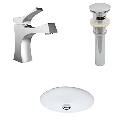 "Jade Bath JB-13225 19.5"" W x 16.25"" D CUPC Oval Undermount Sink Set with Single Hole CUPC Faucet and Drain, White"