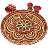 "Puja Thali Set Hand Decorated With Rhinstones And Beads With 1 Diya, 2 Bowls Of Size 10"" Diameter By HariOm Art"