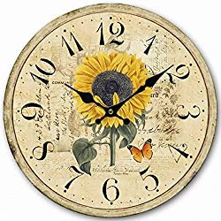 SkyNature Silent Wall Clock Non Ticking Wood Wall Clocks Large Decorative Living Room (Sunflower)