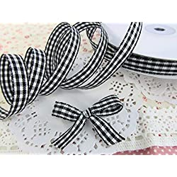 "25 yards Roll Double Sided Gingham Check 3/8"" Ribbon/Craft/Trim R147-Black/White US Seller Ship Fast"