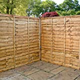 Waltons 6ft x 6ft Lap Waney Edge Garden Fencing Panels 6x6 New Fence 43mm Timber Posts - Number of Panels Required: 5 - Number of 75mm Posts Required: 4