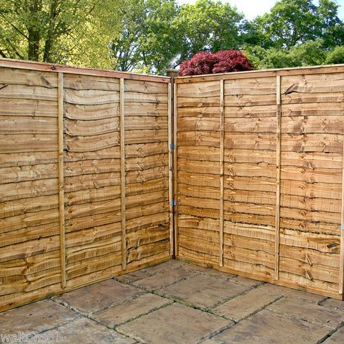 Waltons 6ft x 6ft Lap Waney Edge Garden Fencing Panels 6x6 New Fence 43mm Timber Posts - Number of Panels Required: 3 - Number of 75mm Posts Required: 5