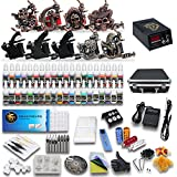 Starter Complete Tattoo Kit 9 Machine Gun Power Supply 50 Needles 40 Ink Set D23