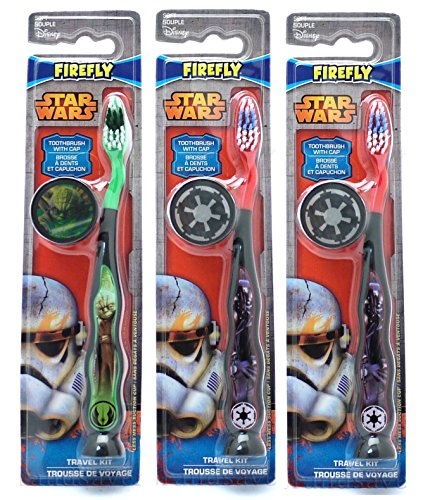 Star Wars Children's Tooth Brush (Pack of 3) With Cap and Suction - Toothbrush Designs Vary - Premium Quality