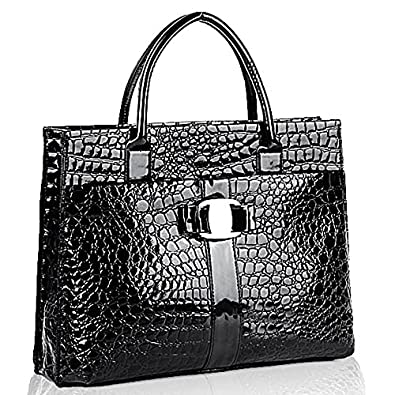 MG Collection MAXX Black High Gloss Crocodile Print Office Tote Briefcase