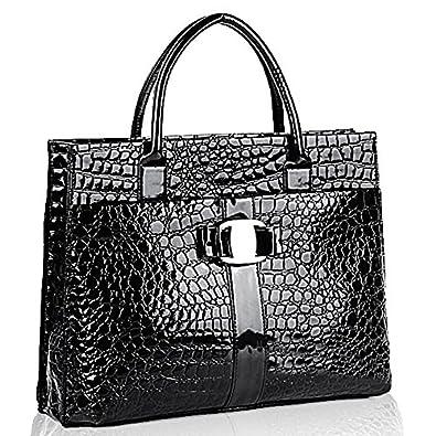 MG Collection Maxx High Gloss Crocodile Print Office Shoulder Bag, Black, One Size
