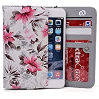 Off White/Pink Lily Case For Samsung Galaxy S5 Active, S5 Plus, S5 Sport | Universal Bi Fold Wallet