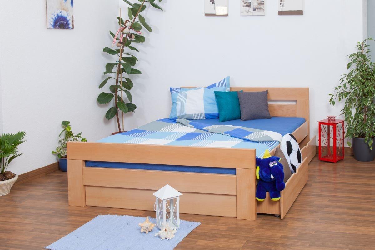 """Jugendbett """"Easy Sleep"""" K6 inkl. 2 Schubladen und 1 Abdeckblende 160 x 200 cm Buche Vollholz massiv Natur bestellen"""