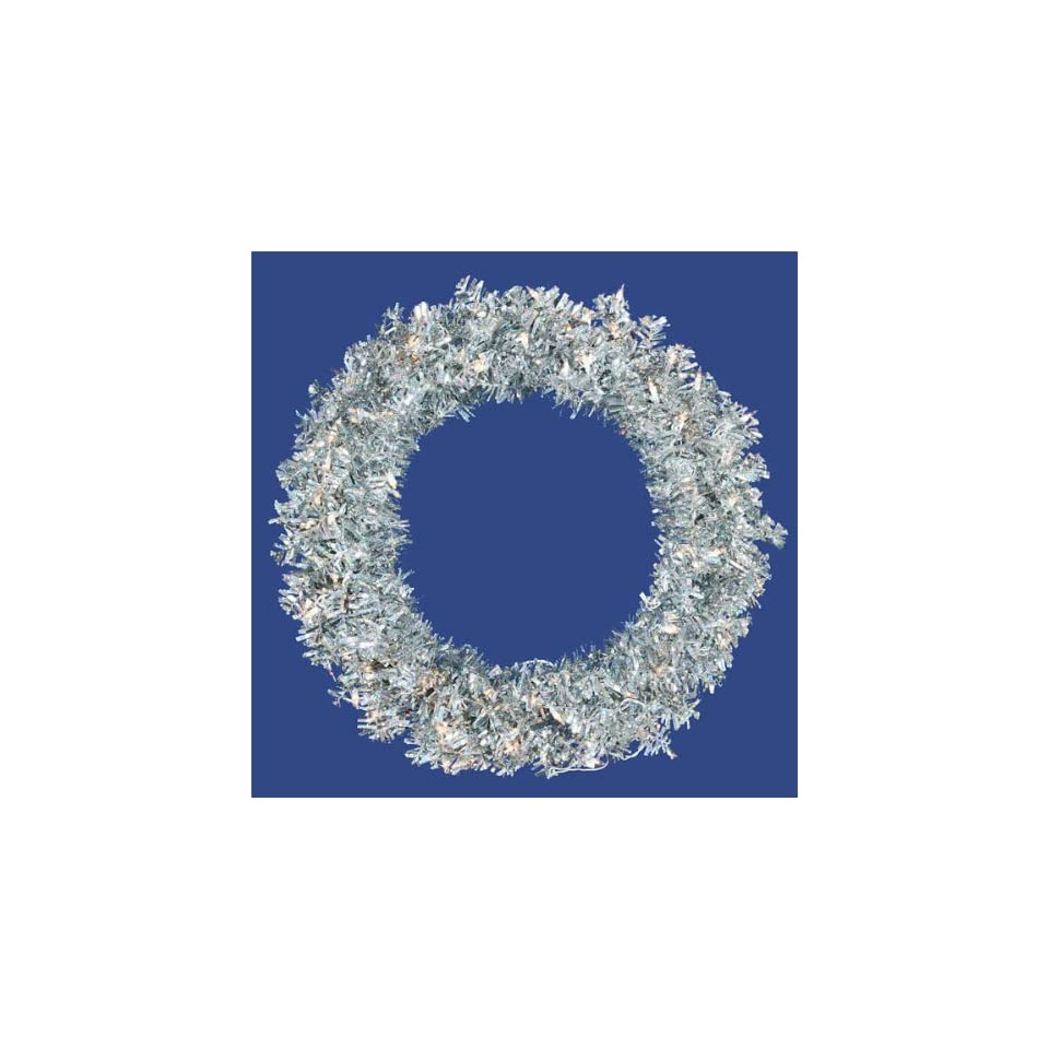 New   60 Pre Lit Silver Wide Cut Tinsel Artificial Christmas Wreath   Clear Lights by Gordon