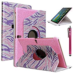 Tab S 10.5 Case, Galaxy Tab S 10.5 Case, Style4U [Everlasting Shine] Shiny Colorful Zebra Print Design 360 Rotating PU Leather Stand Bling Case Cover for Samsung Galaxy Tab S 10.5 (10.5 Inch) Tablet with 1 Stylus [Hot Pink]