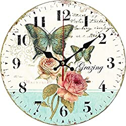 Grazing 12 Romantic Rose and Butterfly Design Arabic Numerals Rustic Country Tuscan Style Wooden Decorative Round Wall Clock ( Rose )
