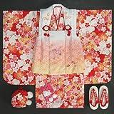 七五三 着物 3歳 女の子 被布セット リョウコキクチ 赤色 被布白ピンクぼかし刺繍使い 雛祭り お正月 足袋付きの12点フルセット