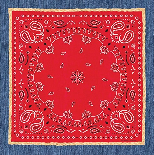 "Creative Converting 727492 Border Print Plastic Table Cover, 54 by 108"", Bandanarama, Red"