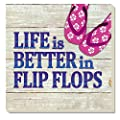 Counter Art Better in Flip Flops Absorbent Coasters, Multicolor, Set of 4