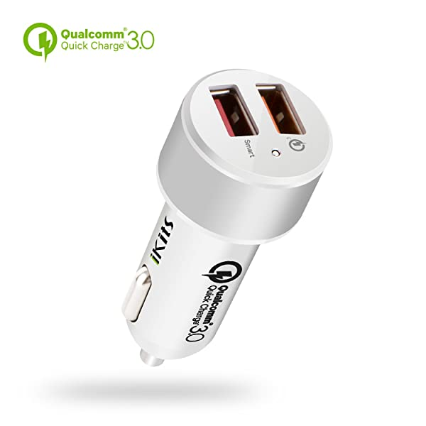 Quick Charge3.0 Car Charger,iKits 30W Rapid Dual USB Car Charge Adapter, 5V/2.4A?.0 USB Port Compatible with Galaxy S9/S8/Edge/Note,HTC10,LG,Smart