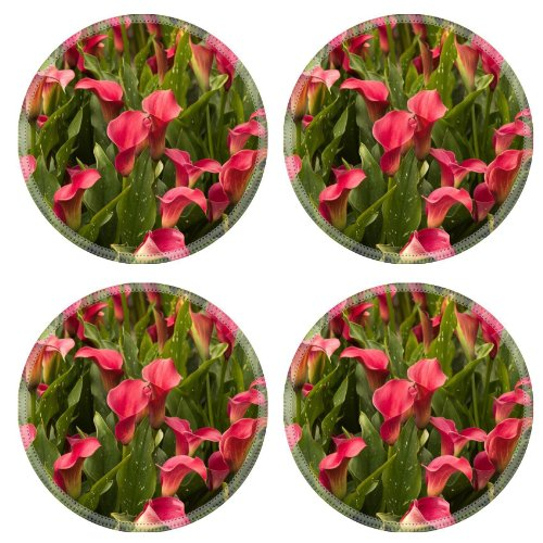 Callas Much Flowers Flowerbed Leaves Round Coaster (4 Piece) Set Fabric Rubber 5 Inch Size Liil Coaster Cup Mug Can Water Bottle Drink Coasters Stain Resistance Collector Kit Kitchen Table Top Desk front-777532