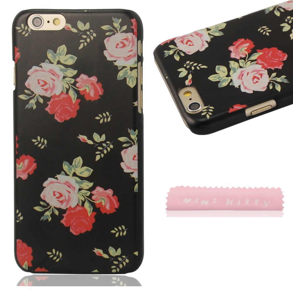 Black Bottom red Pink Roses Chinese style retro classic elegant and beautiful patterns Hard Case cover Protector shell For iPhone 6 4.7 inch+ free