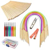 GROWNEER Knitting Needles Set, 36 Pcs Single Pointed Bamboo Needles, 18 Pcs Circular Needles with Colored Tube, 9 Pcs Crochet Hooks with Grip, Weaving Tools Box Knitting Kits for Weave DIY Gift