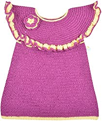 Kuchipoo Baby Girls Woolen Dress (Kuc-Wol-101, Purple and Cream, 2-3 Years)