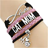 Cat Mom I Love My Cat Infinity Love Bracelet (Pink And Black) (Color: Red And Black)