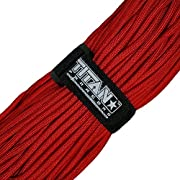 Titan Military 550 Paracord, with Official Fastener - Includes 2 FREE Paracord Project eBooks - This is the same Parachute Cord used by U.S. and Canadian Defense Forces - 100 FEET, NYLON, RED