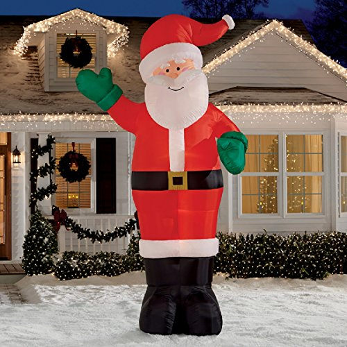 Christmas inflatable giant 12 waving santa by gemmy for 4 foot santa claus decoration