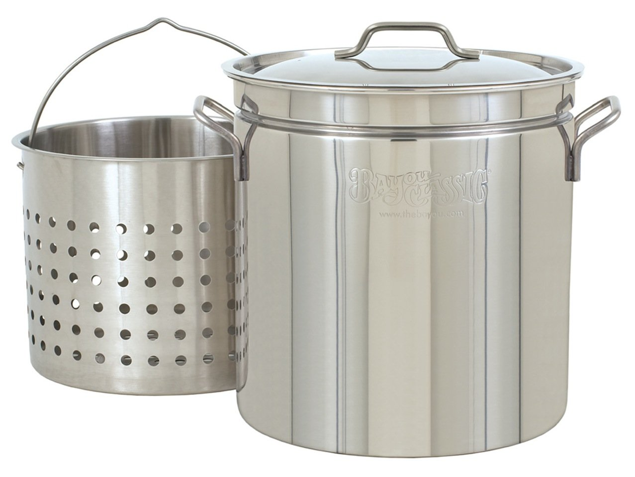 Bayou Classic 24-Quart All Purpose Stainless Steel Stockpot with Steam and Boil Basket