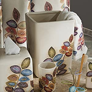 Mosaic Leaves Wastebasket by Croscill