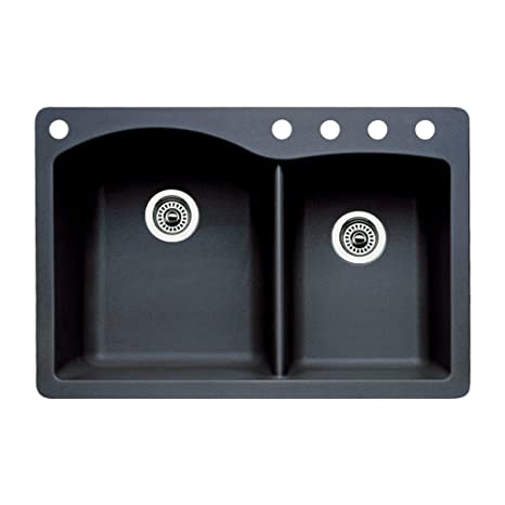 Blanco 440215-5 Diamond 5-Hole Double-Basin Drop-In or Undermount Granite Kitchen Sink, Anthracite