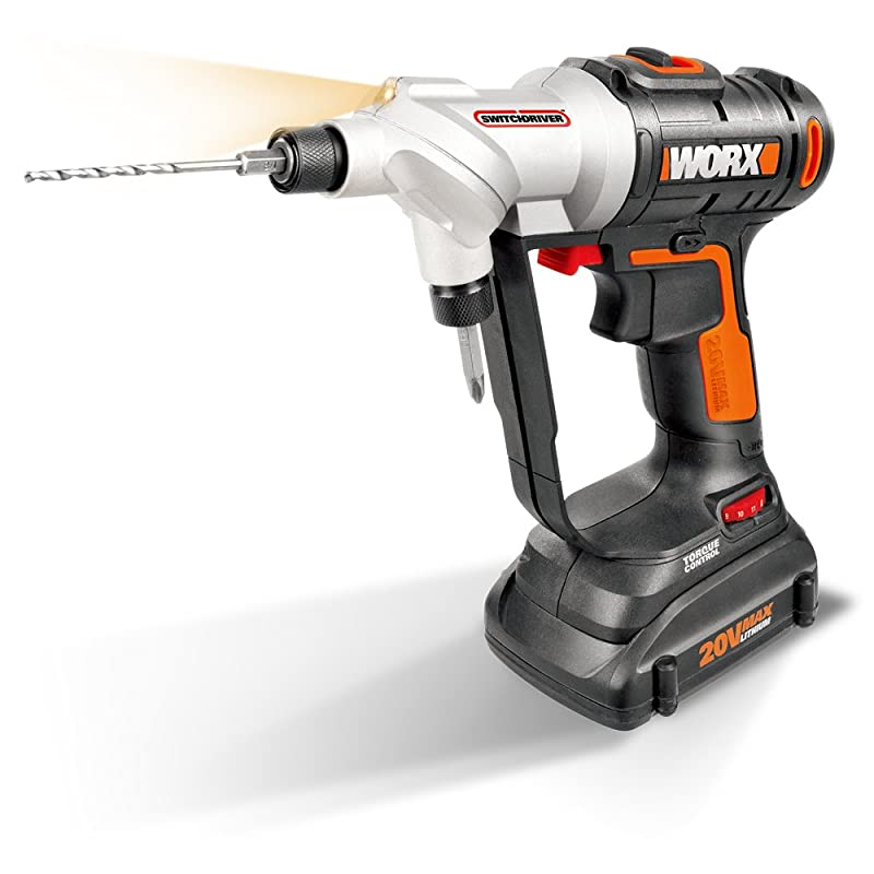 WORX Switchdriver 2-in-1 Cordless Drill and Driver with Rotating Dual Chucks and 2-Speed Motor with Precise Electronic Torque Control – WX176L via Amazon
