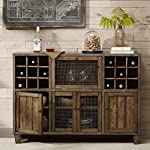 Industrial Rustic Vintage Liquor Storage Wine Rack Cart Metal Frame with Drawers and Doors Storage in Reclaimed Wood Finish Sideboard Buffet - Includes Modhaus Living Pen