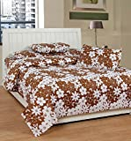Soni Traders Floral Print Polycotton Double Bedsheet With 2 Pillow Covers (BST_163, Brown)