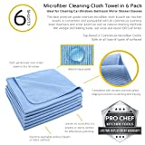 Pro Chef Microfiber Cloth Towel Cleaning Car Windows Bathroom Mirror Shower Glasses Auto 16x16 6pk
