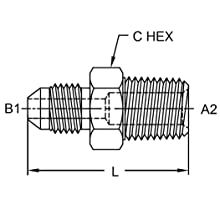 Brennan 2404 Series, Steel JIC Tube Fitting, MJ-MP Adapter, Tube OD x NPTF Male