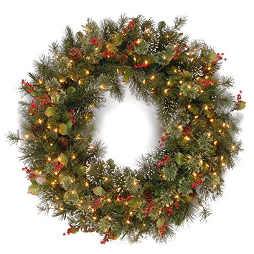 National Tree Wintry Pine Wreath with Cones, Red Berries and Snowflakes, 36-Inch, 150 Clear Lights