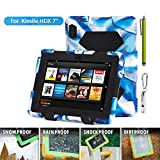 """ACEGUARDER Shockproof Case for Kindle Fire HDX 7"""" Rainproof Waterproof Shockproof Kids Proof Case for Kindle Fire HDX 7""""(only Fit Kindle Fire HDX 7 2013) (Gifts Outdoor Carabiner + Whistle + Handwritten Touch Pen) (NAVY/BLACK)"""