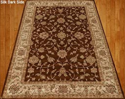 Homemusthaves Brown Beige Green Red Traditional Persian Floral Faux Silk Rug Carpet (4X6)