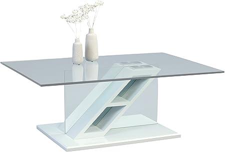 HomeTrends4You 146126 Couchtisch, Glas, weiß, 110 x 70 x 41 cm