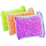 Casabella Sparkle Scrub Sponge, 2-Pack, Colors vary between Plum, Lime and Orange